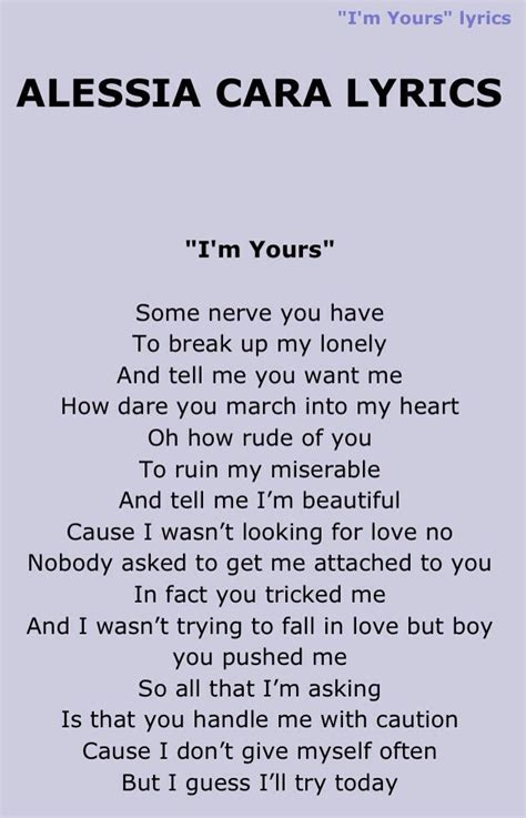 testo my song alessia cara i m yours is my lyrics to my
