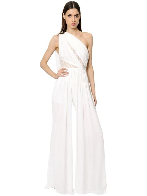 Guess Gs White Lace Romper elie saab one shoulder crepe lace jumpsuit in white lyst