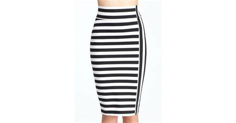 White Mix Litle Stripe bebe mixed stripe midi knit skirt in black lyst