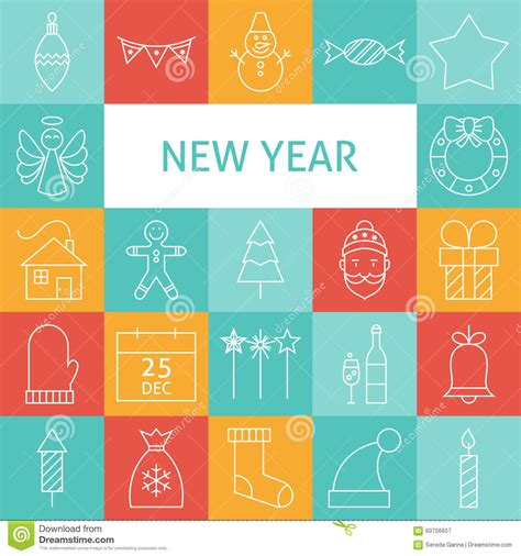 happy new year icons vector line modern happy new year icons set