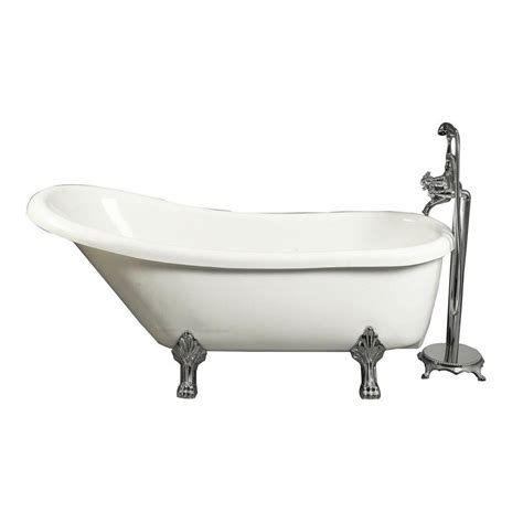 aston 5 5 ft acrylic claw foot slipper tub in white with