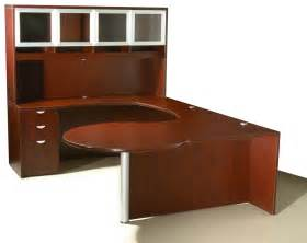 Curved Office Desks Of4s Curved Series U Shaped Executive Desk With Hutch 72 Quot Wide X 106 Quot Mahogany Sku