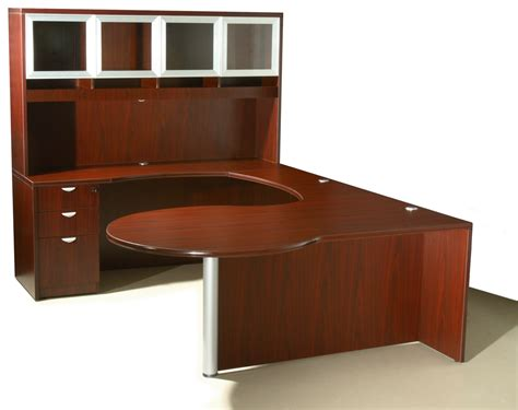 Curved Office Desk Furniture Of4s Curved Series U Shaped Executive Desk With Hutch 72 Quot Wide X 106 Quot Mahogany Sku