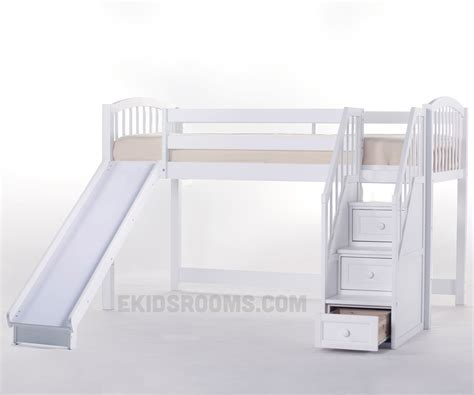 low loft bed with stairs school house junior low loft bed with stairs and slide