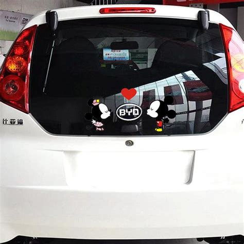 car styling funny cartoon car sticker door decal mickey mouse kiss accessories  volkswagen