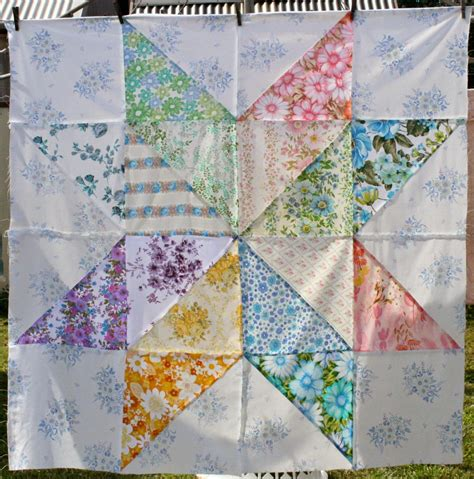 Classic Quilt Blocks by Amelie And Atticus Vintage Sheet Quilt Block
