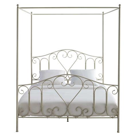 letto a baldacchino letto a baldacchino color avorio in metallo 160 x 200 cm