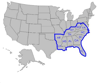 southeast map of the united states regions 4th grade social studies project