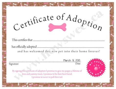 pet adoption certificate template puppy adoption certificate pink or blue sweetparties