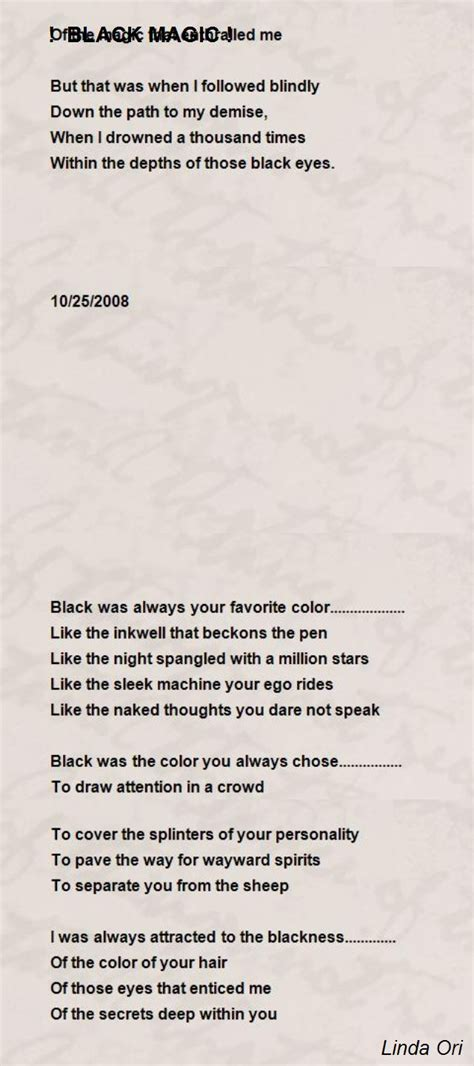 black magic poem by ori poem