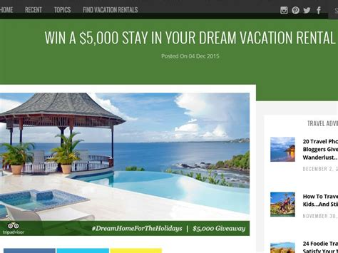 The View 20 Day Vacation Giveaway - tripadvisor vacation rentals dreamhomefortheholidays giveaway sweepstakes