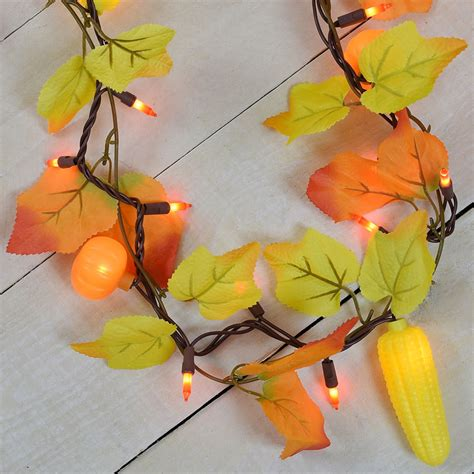 Maple Leaf Corn Pumpkin Party String Lights Garland Style Fall String Lights
