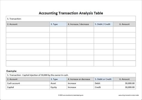 Accounting Transaction Analysis Double Entry Bookkeeping Excel Transaction Template