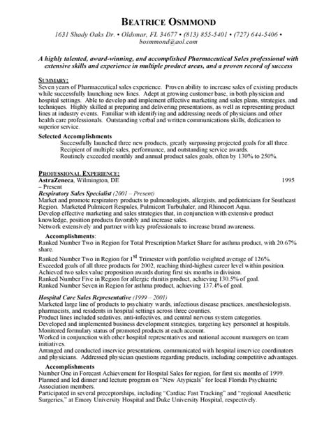 resume objectives for pharmaceutical sales reps