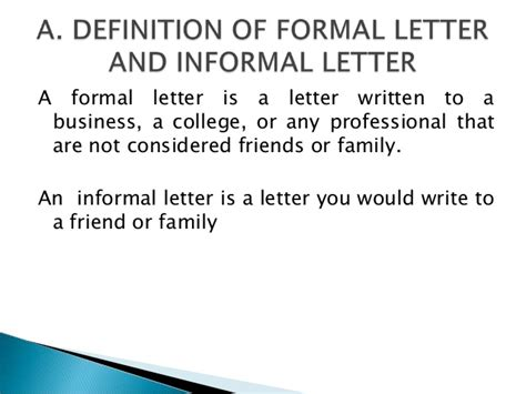 Informal Business Letter Definition Formal And Informal Letter