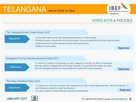 Mba Fee Reimbursement Telangana 2017 by Telangana State Report January 2017