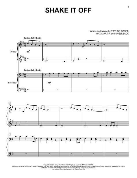 printable lyrics shake it off shake it off sheet music by taylor swift piano duet 158906