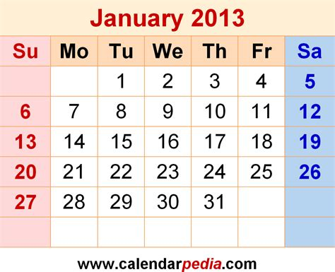 Calendar Of 2013 January 2013 Calendars For Word Excel Pdf