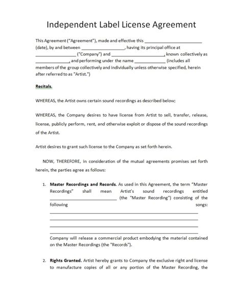 Record Label Agreements Record Label Contract Template