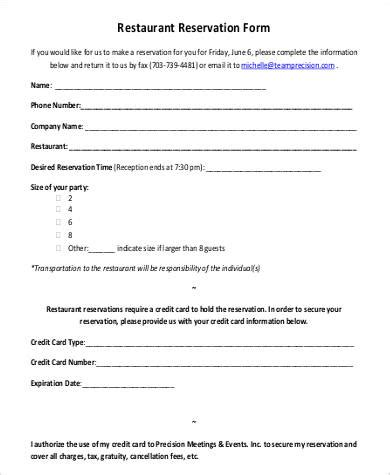 restaurant reservation form template free reservation form