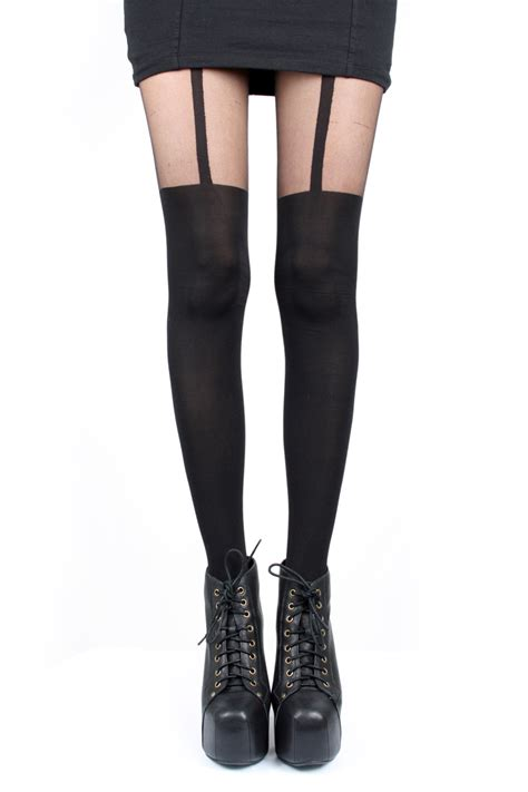 What To Wear With A Pretty Polly Catsuit by Buy Pretty Polly Black Suspender Tights At Motel Rocks