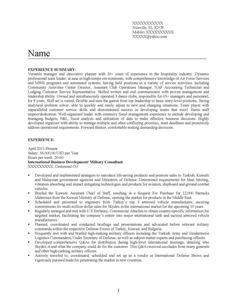 Transitional Resume by Transition Resume Army Civilian Best Free