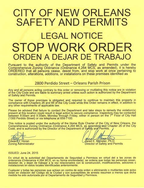 Stop Work Order by City Issues Stop Work Order On New Orleans Parish Prison