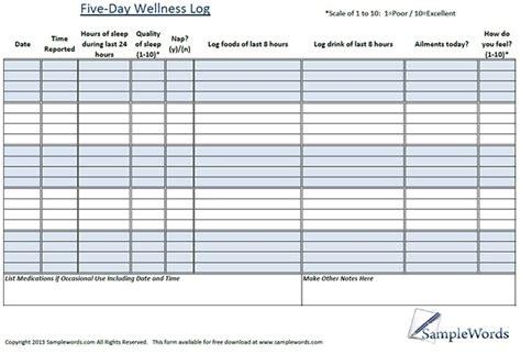 wellness chart and five day log wellness chart and log