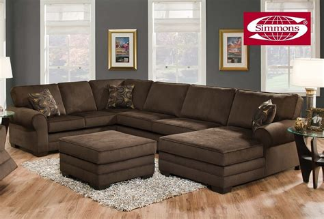 Simmons Tenner Deluxe Beluga Plush Corduroy Sofa Sectional
