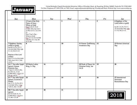 2018 Worship And Music Planning Calendar Discipleship Ministries Equipping World Changing Free Church Calendar Templates