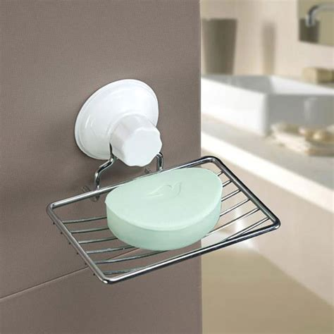 suction cup soap holder plastic and metal soap dish tray
