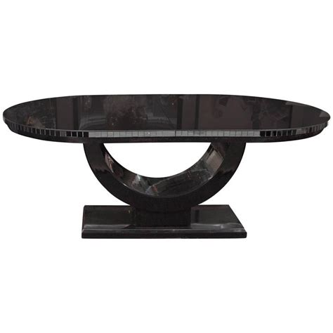 black vintage table l vintage black glass deco style dining table at 1stdibs
