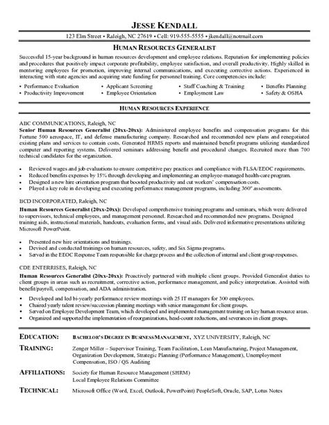 human resource resume sles 28 images functional resume sle generalist position in human