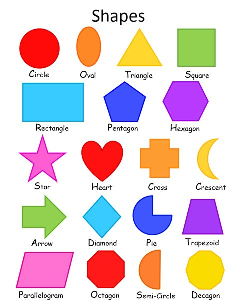 colorful shapes shapes a simple colorful shapes chart for toddlers