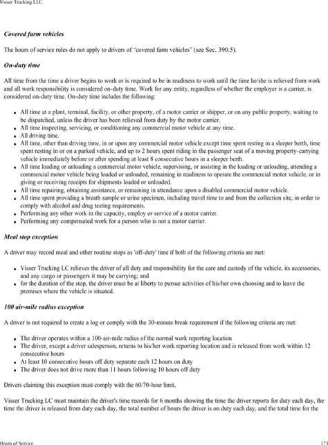 Download Visser Trucking Company Safety Policy Template For Free Page 127 Formtemplate Trucking Safety Program Template