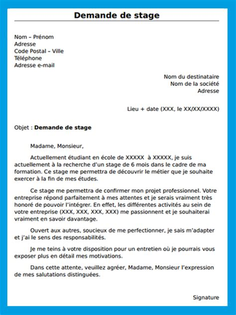 Exemple De Lettre De Motivation Demande De Stage Lettre Officielle Demande De Stage Exemple