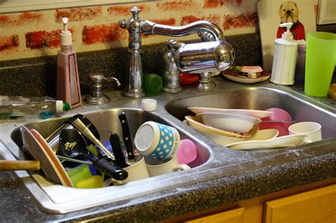 piled up dishes in kitchen sink hodgepodge