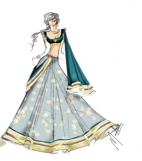 fashion illustration lehenga saree fashion sketch haute couture fashion design