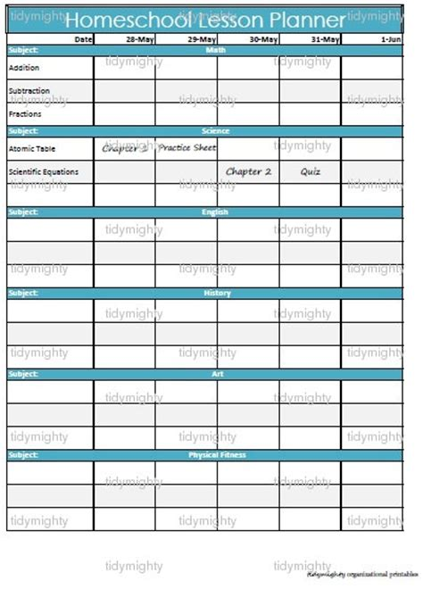 5 best images of homeschool weekly planner printable
