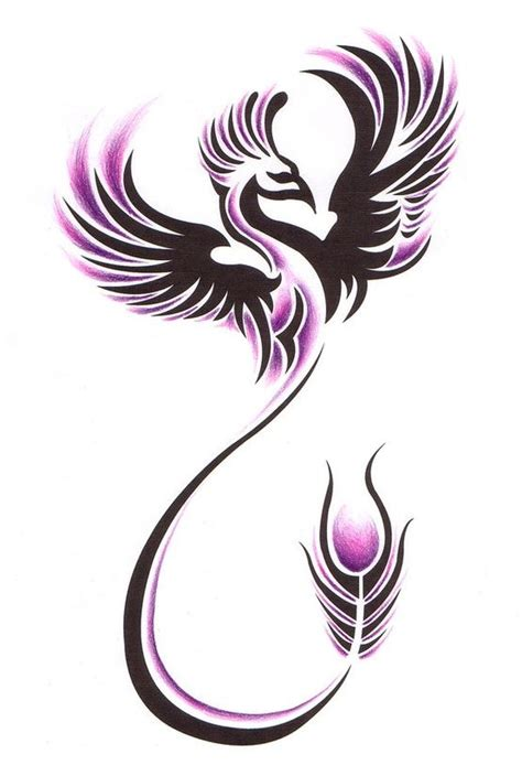 black and pink ink tribal flying phoenix tattoo design