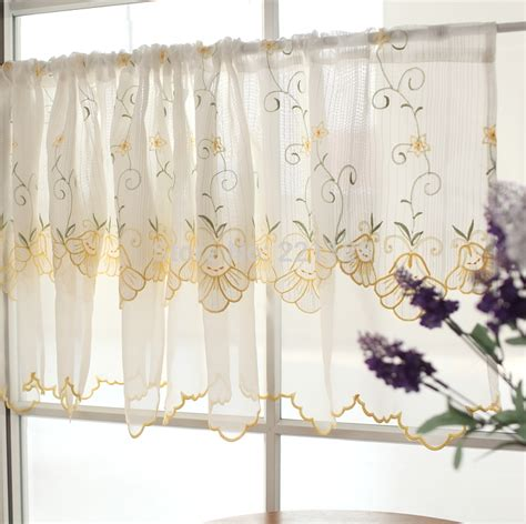 double rod pocket sheer curtains aliexpress com buy double layer embroidery coffee
