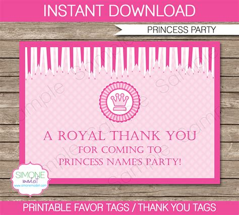 diy favor tags templates princess favor tags thank you tags birthday