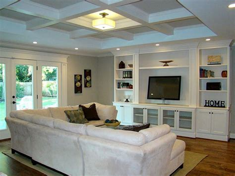 Perfect living room layout for our house. Small coffered