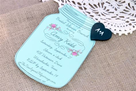 Mason Jar Invitations And Chalkboard Tags For Weddings Or Showers Jar Invitation Template