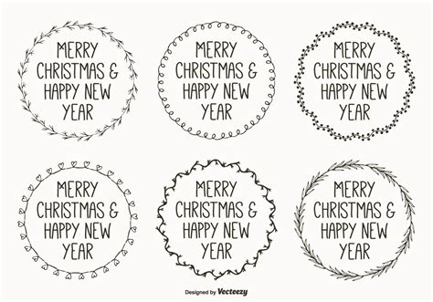 cute hand drawn style christmas labels   vector art stock graphics images