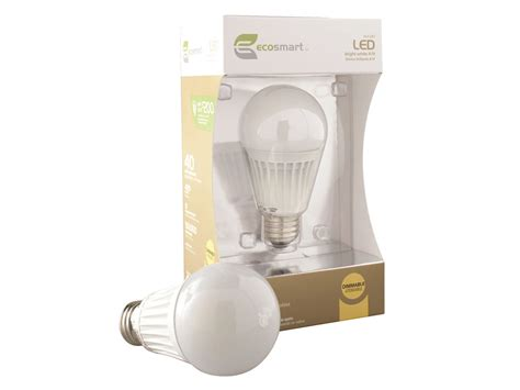 home depot ecosmart a19 8 6w led bulb review led resource