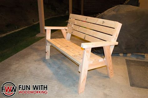 made by woodworking park bench with a reclined seat made out of 2x4 s by