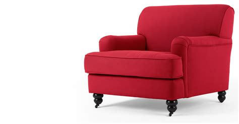 armchair red orson armchair in poppy red made com