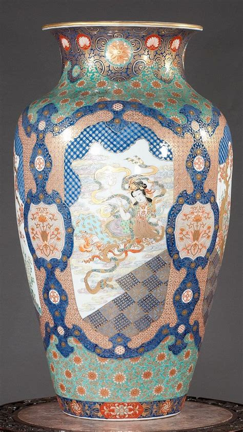 antique japanese flower vase with figurines ca 1875 3