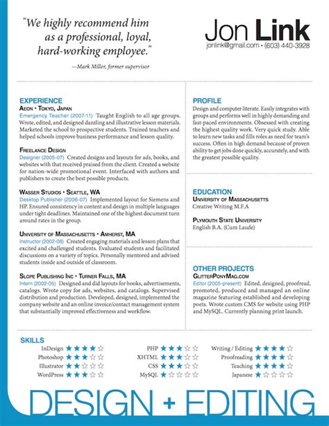 Resume Cv Indesign Indesign Resume Template Jon Link